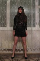black bra - black suit - black Naf Naf skirt - black Alba shoes