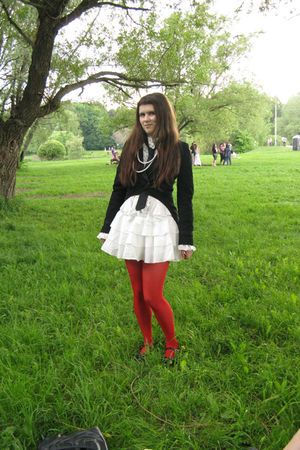 white dress - black Mango jacket - black tie - white accessories - red Topshop t