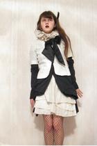 Etsy scarf - so french jacket - bray shirt - Etsy skirt - gift tights