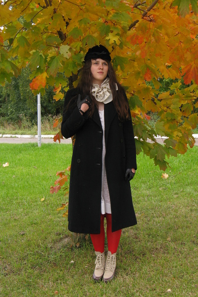 Oggi coat - Mango dress - Etsy scarf - Topshop tights - thrifted boots - gloves