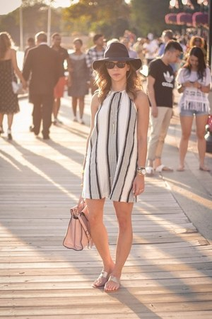 bubble gum kate spade bag - white Loft dress - navy Forever 21 hat