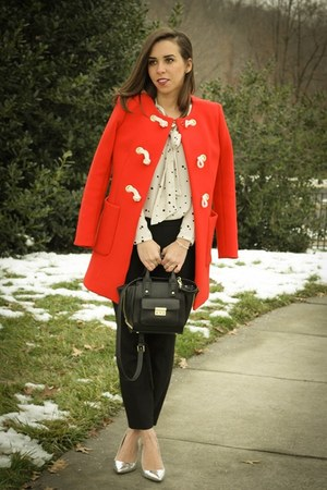 red JCrew coat - silver metallic JCrew pumps