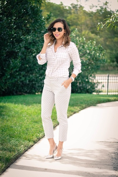 silver pumps Jcrew heels - off white gingham Jcrew blouse