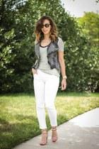 white Jcrew jeans - red Pour La Victoire heels