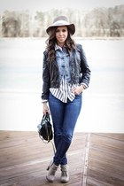 blue Jcrew shirt - black faux leather LC Lauren Conrad jacket