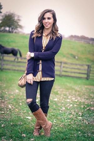 black distressed madewell jeans - mustard stripes Jcrew blouse