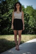 black H&M skirt - nude Loft dress - black Tibi pumps