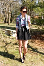denim vest American Eagle vest - hot pink plaid button up JCrew shirt