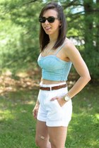white high-waisted H&M shorts - blue denim American Eagle top