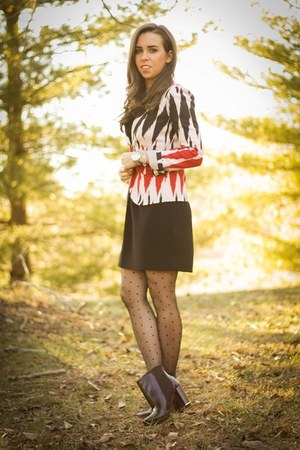 red print Jcrew blazer - black booties dvf boots - black lbd Jcrew dress
