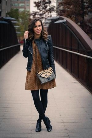 black faux leather Zara jacket - mustard swing dress H&M dress