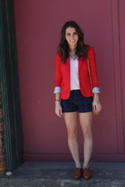 red tailored blazer Jcrew blazer - navy ikat print Gap shorts