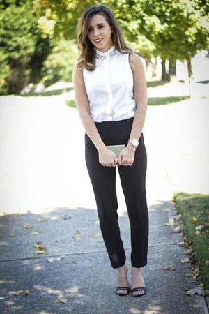 black Jcrew pants - gold TJ Maxx bag - Jcrew blouse