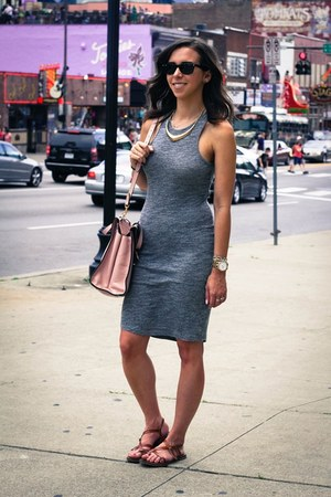 gray American Eagle dress - bubble gum kate spade bag