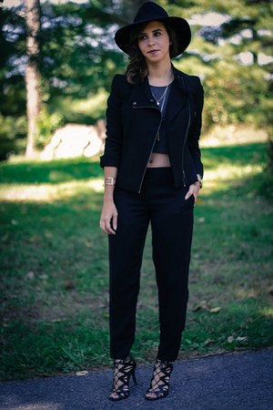 black motorcycle ann taylor jacket - black Loft pants