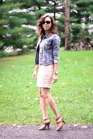 blue denim jacket Gap jacket - bubble gum pencil skirt Loft skirt