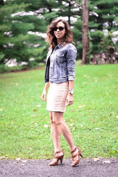 blue denim jacket Gap jacket - bubble gum pencil skirt Loft skirt