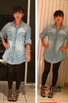 sky blue denim H&M shirt - dark brown XOXO wedges