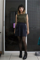 black H&M boots - charcoal gray American Apparel skirt