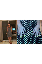 black polka dots Mango dress - black leather Jeffrey Campbell heels