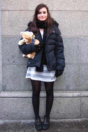 black Fun & Basics scarf - black nike jacket - silver Zara dress - black Zara gl