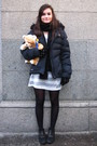 Black-fun-basics-scarf-black-nike-jacket-silver-zara-dress-black-zara-gl