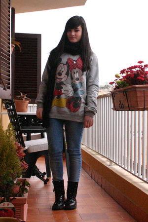 gray Disney - black scarf - blue Bershka jeans - black Mango boots - black coat