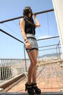 Black-h-m-top-white-american-apparel-skirt-silver-casio-accessories-black-