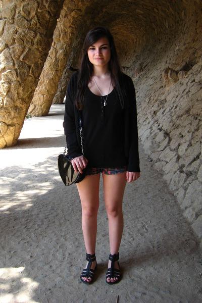 black Zara cardigan - black H&M top - black Topshop shorts - black shoes - black