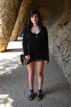 black Zara cardigan - black H&M top - black Topshop shorts - black shoes - black