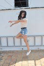 Pink-mango-top-blue-mango-shorts-white-victoria-shoes-silver-portobello-ma