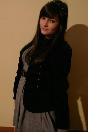 black accessories - black Zara jacket - gray Zara dress - black tights - black v