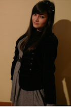 black accessories - black Zara jacket - gray Zara dress - black tights - black v