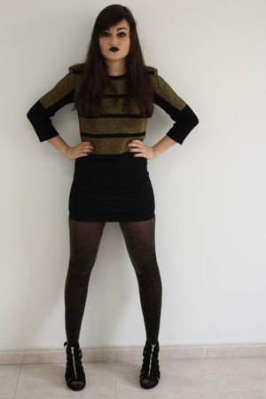 gold Topshop top - black H&amp;M skirt - gold Topshop tights - black H&amp;M shoes