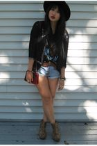 black Topshop jacket - gold Jeffrey Campbell shoes
