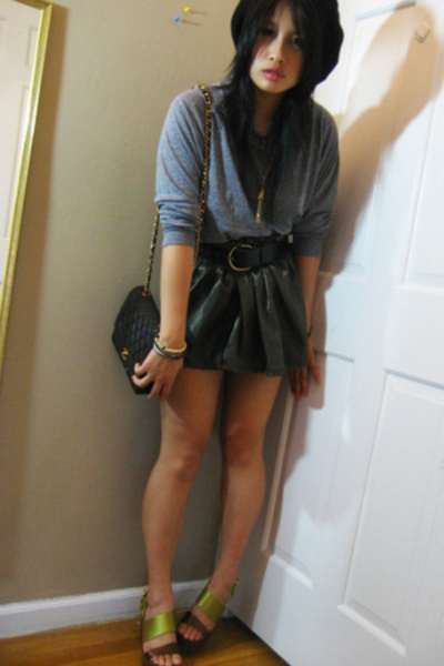 DIY skirt - aa shirt - Nine West shoes - vintage belt