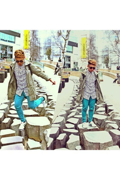 parka Topman coat - mexico 66 onistuka tiger shoes - teal Primark jeans