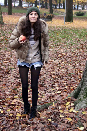 beige JCrew cardigan - blue DSquared shorts - gray Top Shop boots
