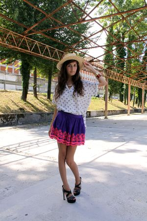 purple Topshop skirt - black Miu Miu shoes - beige asos hat - blue vintage shirt