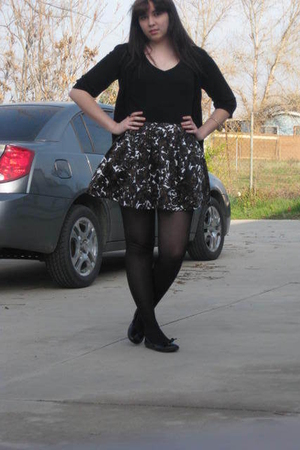 black Mossimo cardigan - black Forever21 shirt - Forever21 skirt - black Forever