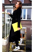 yellow asos bag - black Zara coat - heather gray nike air max sneakers