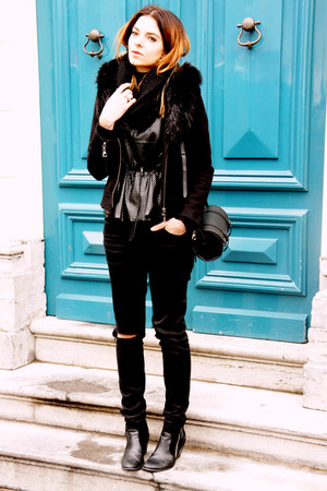 black Nelly White Label boots - black Eleven Paris coat - black H&M Trend top