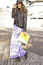 yellow asos bag - black allsaints boots - violet calvin klein dress