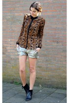 dark brown Zara blouse - black Nelly boots - silver Esprit shorts