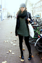 olive green Urban Outfitters sweater - black Nelly boots - black Ebay hat