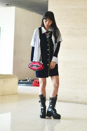 SS Custom boots - STUPKID dress - Nila Anthony purse - H&M top - Youniq necklace