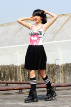 Buffalo boots - lah lah land socks - Forever 21 bodysuit - Uniqlo skirt