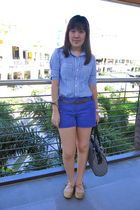 blue Regatta top - purple Mango shorts - brown Mango belt - gold Fancy Flats sho