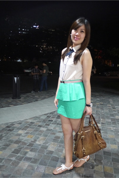 aquamarine peplum sabrina skirt - ivory Forever 21 blouse