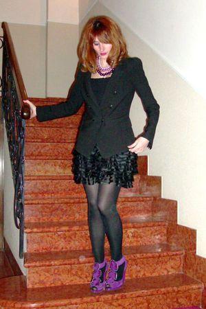 black Zara blazer - black vintage top - black H&M skirt - purple suede ruffled s